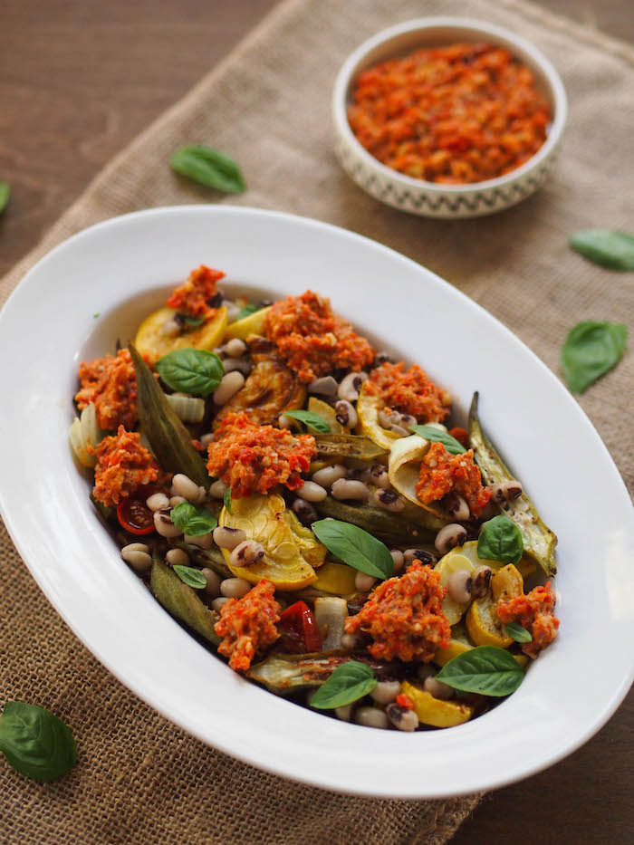 Roasted Vegetables with Southern Romesco and Black Eyed Peas