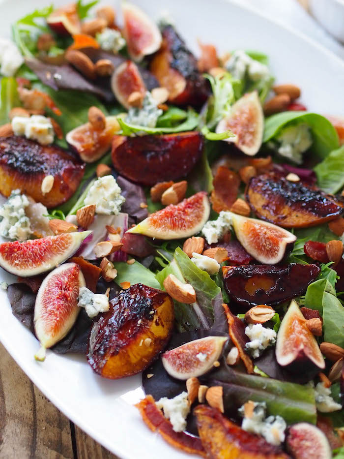 Roasted Peach Salad with Bacon and Blue Cheese