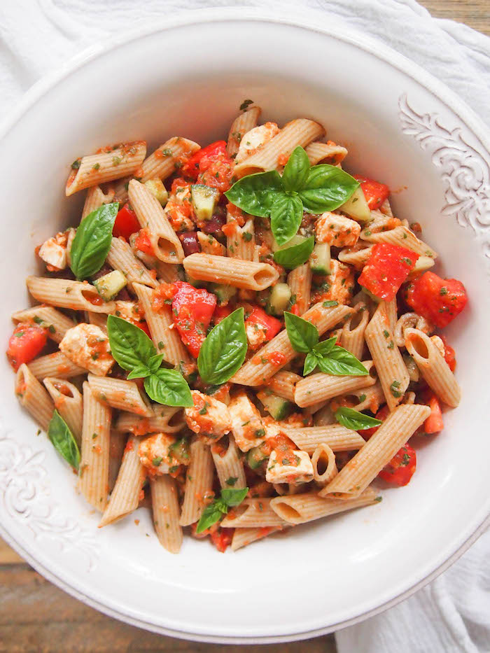 Pasta Salad with Tomato Basil Dressing