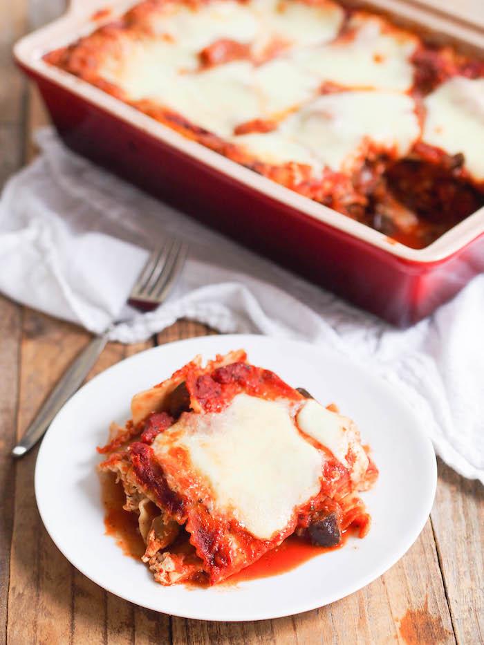 Vegetarian Lasagna with Eggplant & Mushroom Sauce
