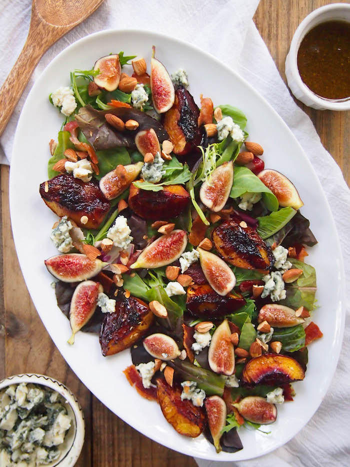 Balsamic Roasted Peach and Fig Salad with Almonds, Blue Cheese and Bacon
