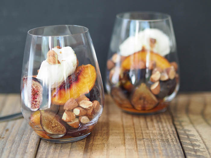 Roasted Peaches and Figs with Mascarpone and Almonds