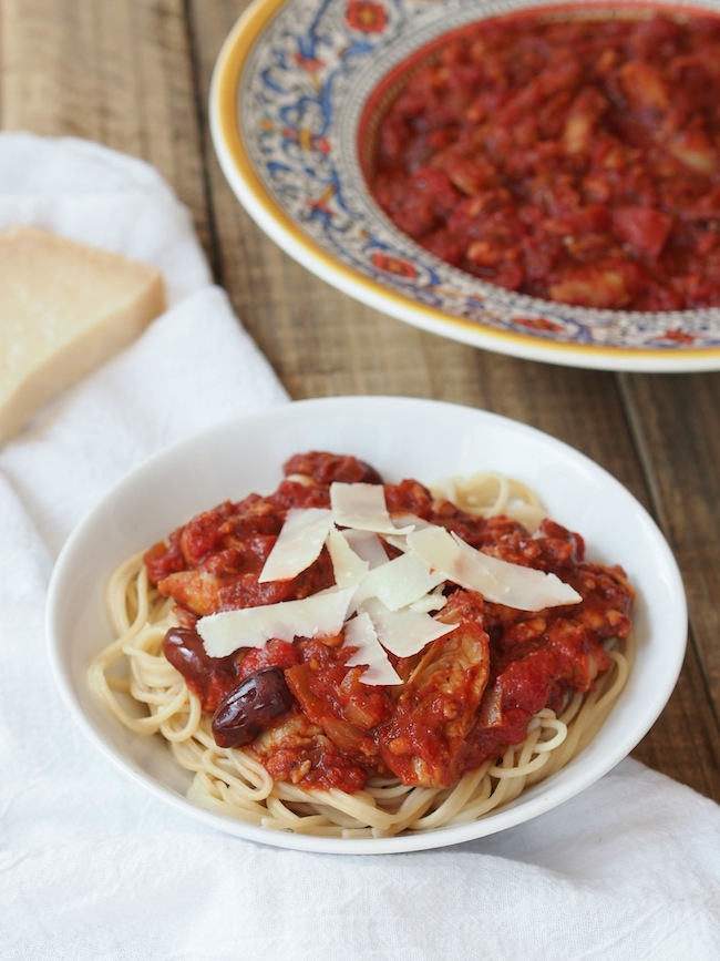 Spaghetti with Tempeh Sausage Marinara and Artichokes