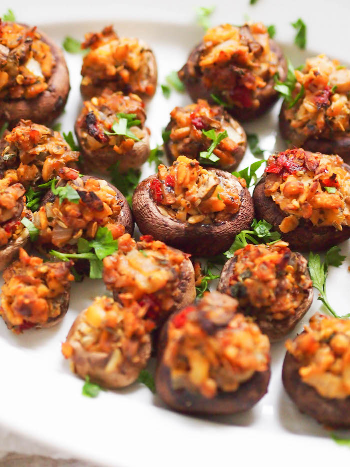 Get #SoyInspired with these vegan tempeh sausage stuffed mushrooms, perfect for your holiday appetizer spread!