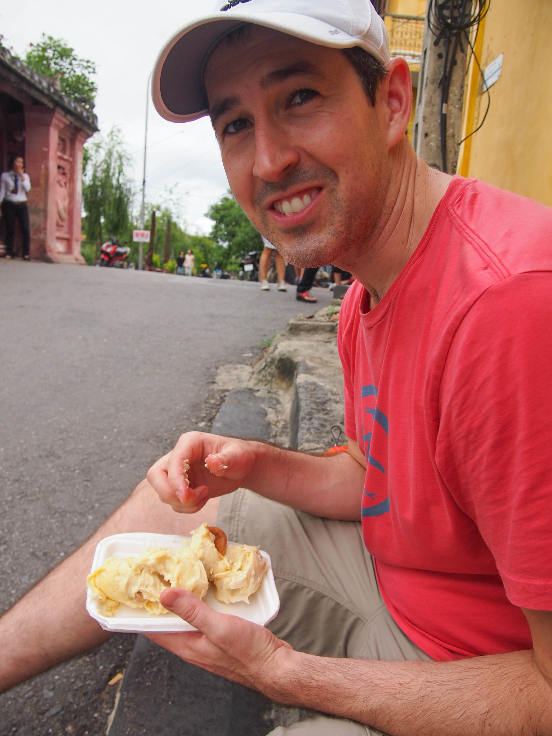 Eating durian in Hoi An Vietnam.