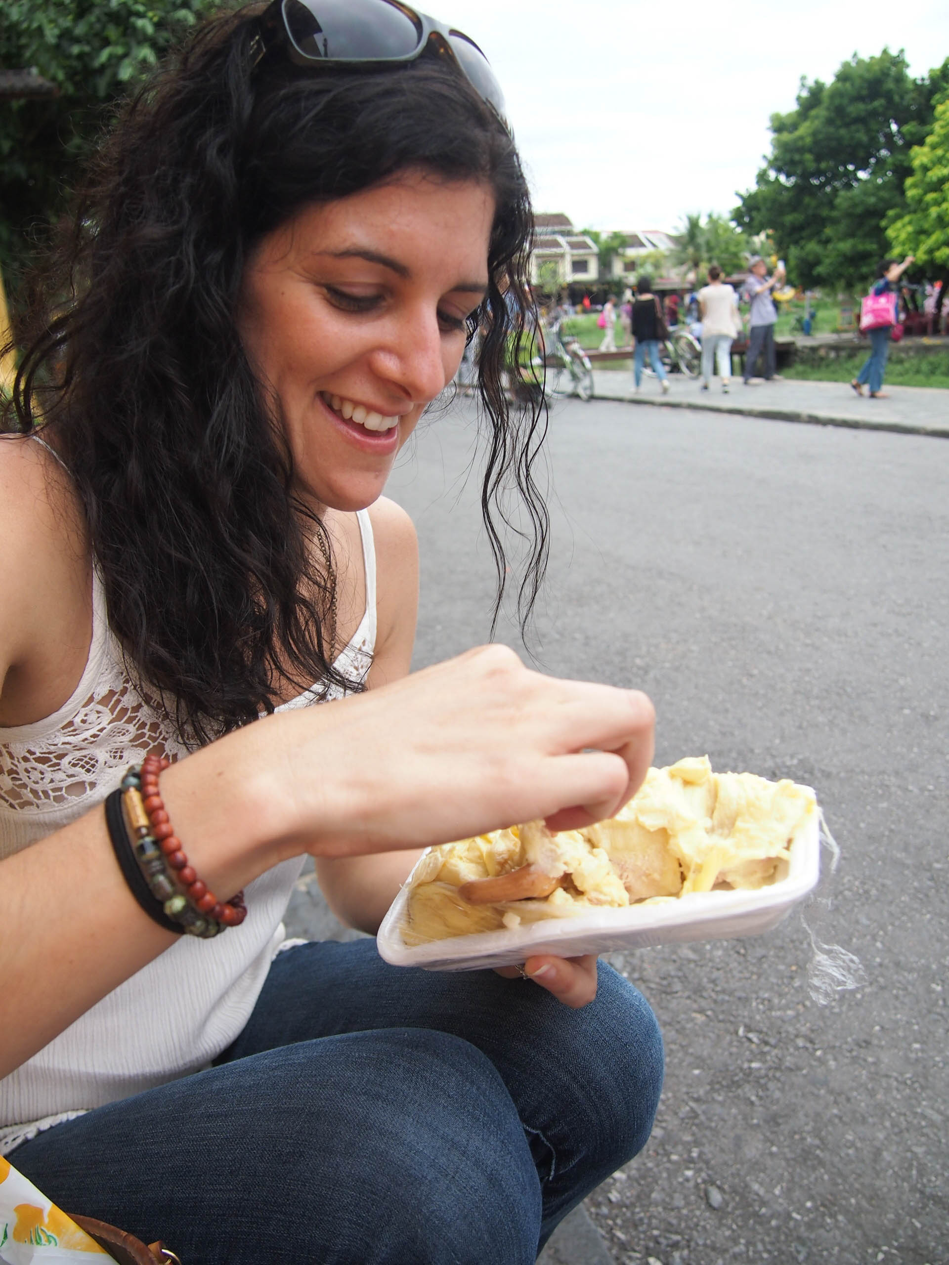 Eating durian in Hoi An