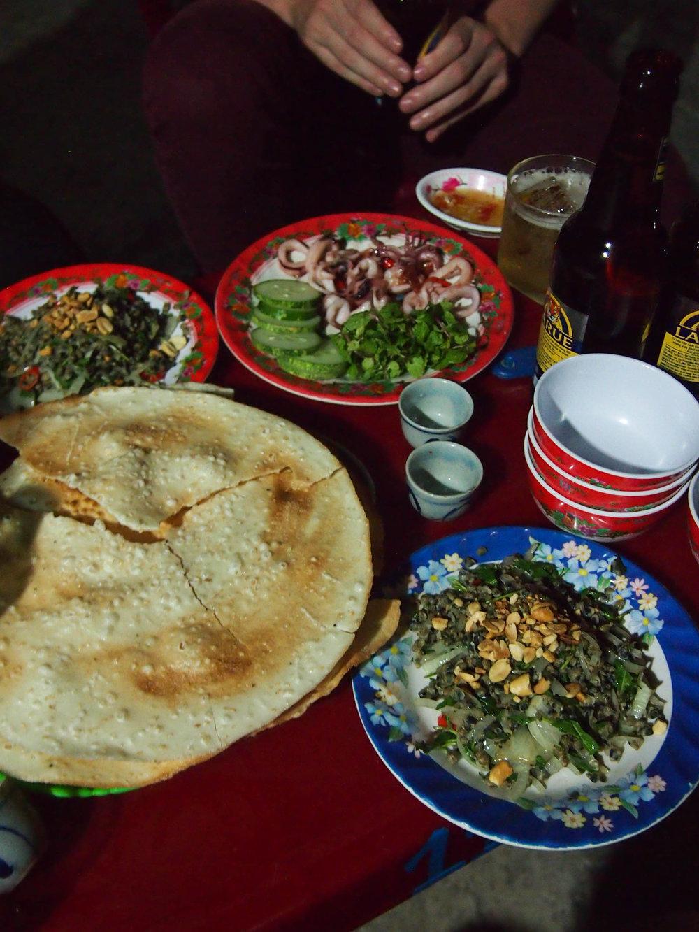 River clam salad, rice crackers and calamari.