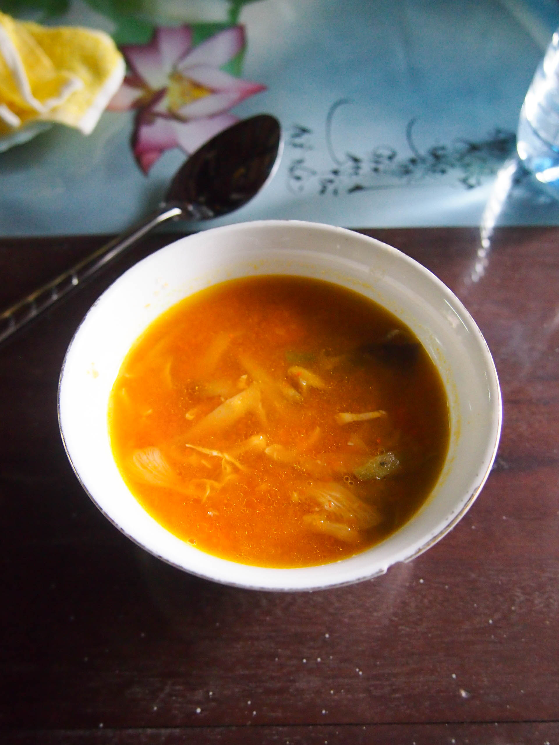 A vegetarian soup made with mushrooms, carrots and lotus seeds.
