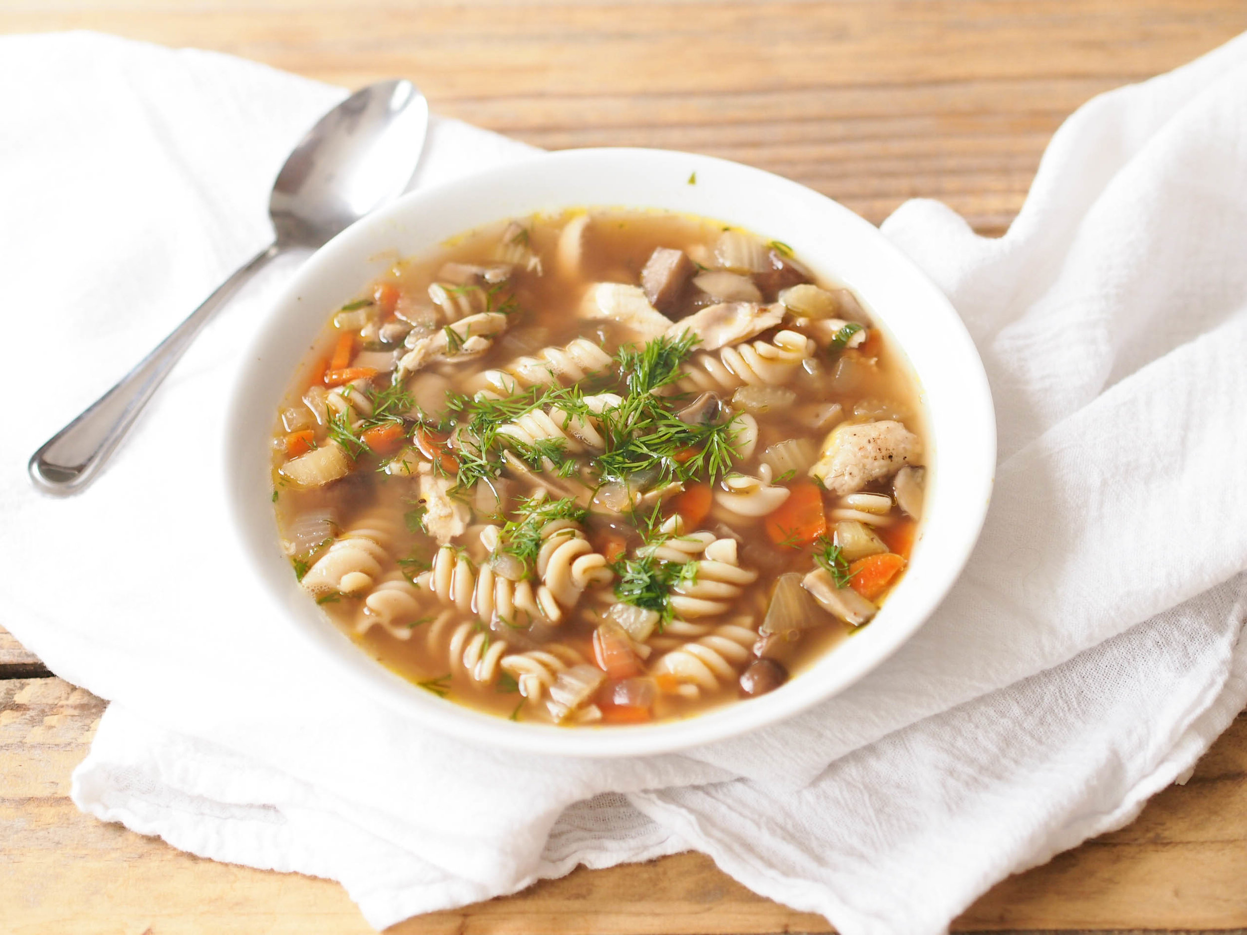 Leftover turkey noodle soup with the best ever broth! The secret is roasting the bones to coax out more flavor.
