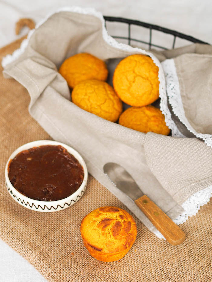 Two ingredient coconut date butter is perfection with pumpkin cornbread muffins