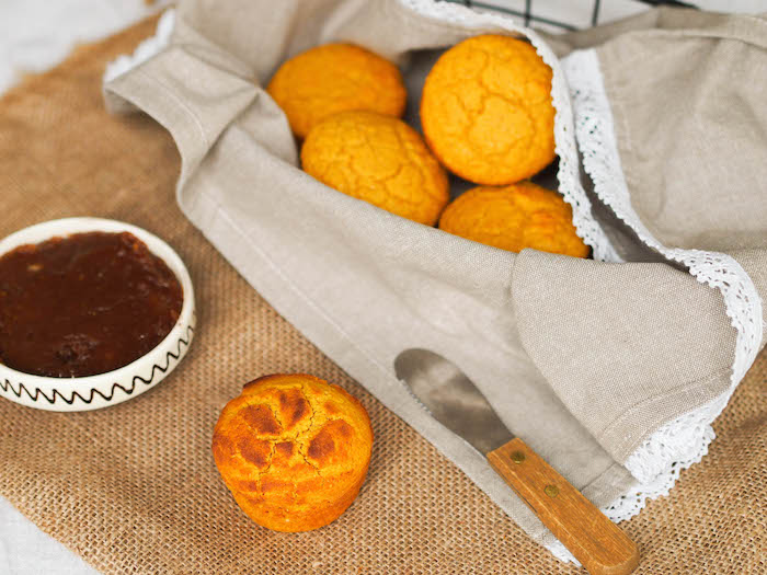 Pumpkin cornbread muffins with two ingredient coconut date butter