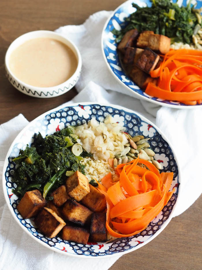 This sweet & spicy tofu millet bowl with garlicky greens is perfect for lunch!