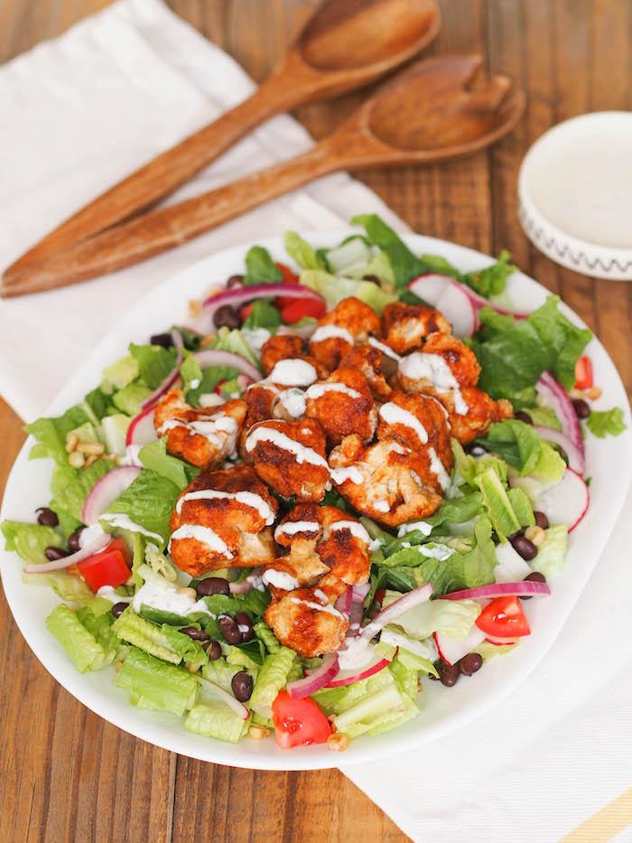 Southwest salad with crispy barbecue cauliflower and yogurt ranch