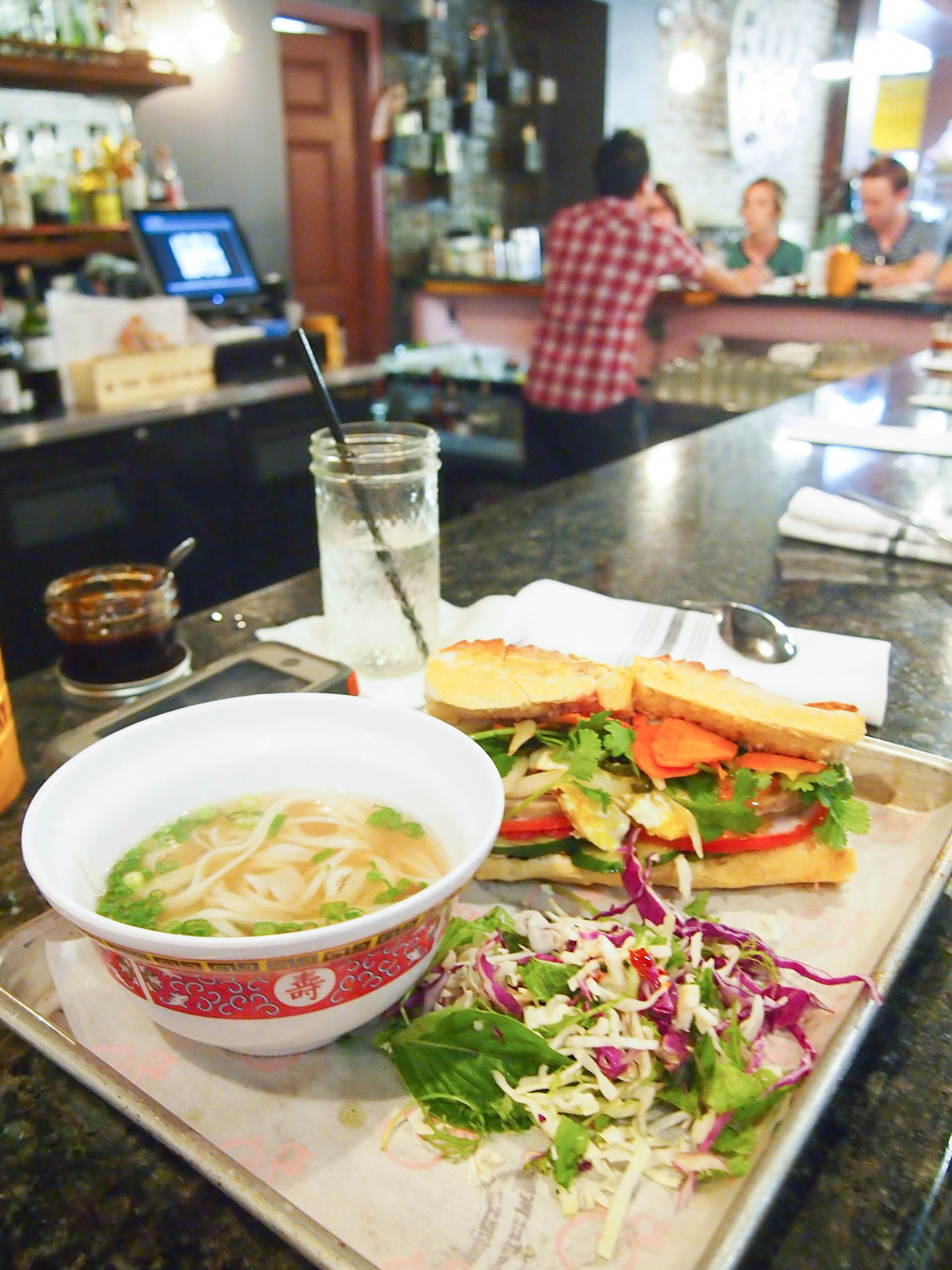 Bun bo hue noodle soup and a banh mi from The Pig and the Lady in Honolulu