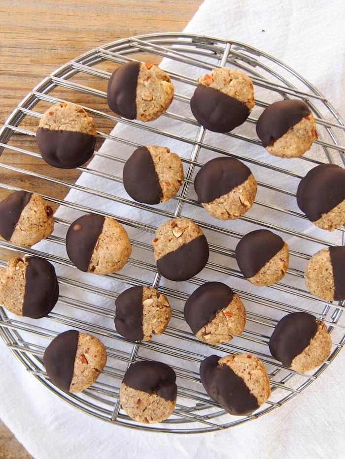 Dip these whole grain chai almond cookies in dark chocolate for a sweet treat!