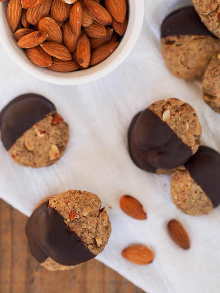 Dark Chocolate Dipped Chai Almond Cookies