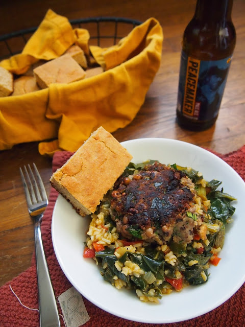 Black Eyed Pea Patties with Hoppin' Collards