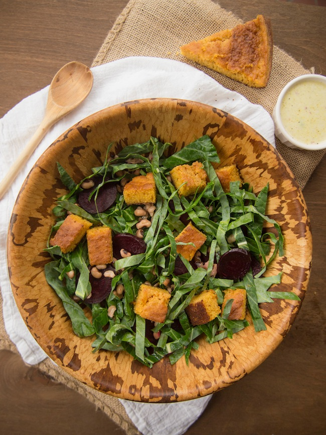 Collard Green Salad with Beets, Black Eyed Peas and Cornbread Croutons
