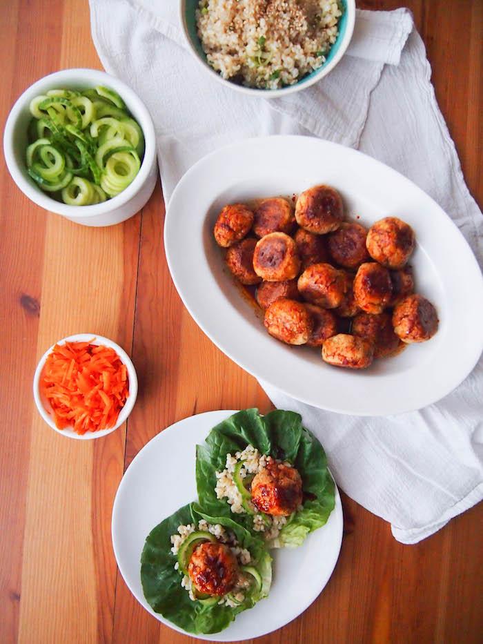 Vegetarian lettuce wraps with bulgogi style meatballs
