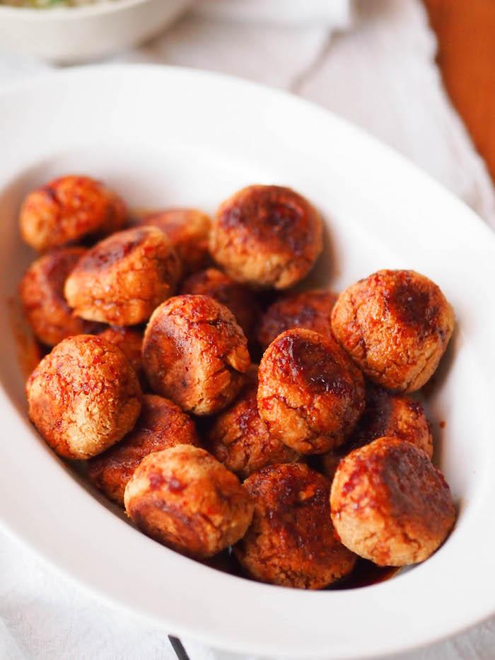 Vegetarian Korean meatballs