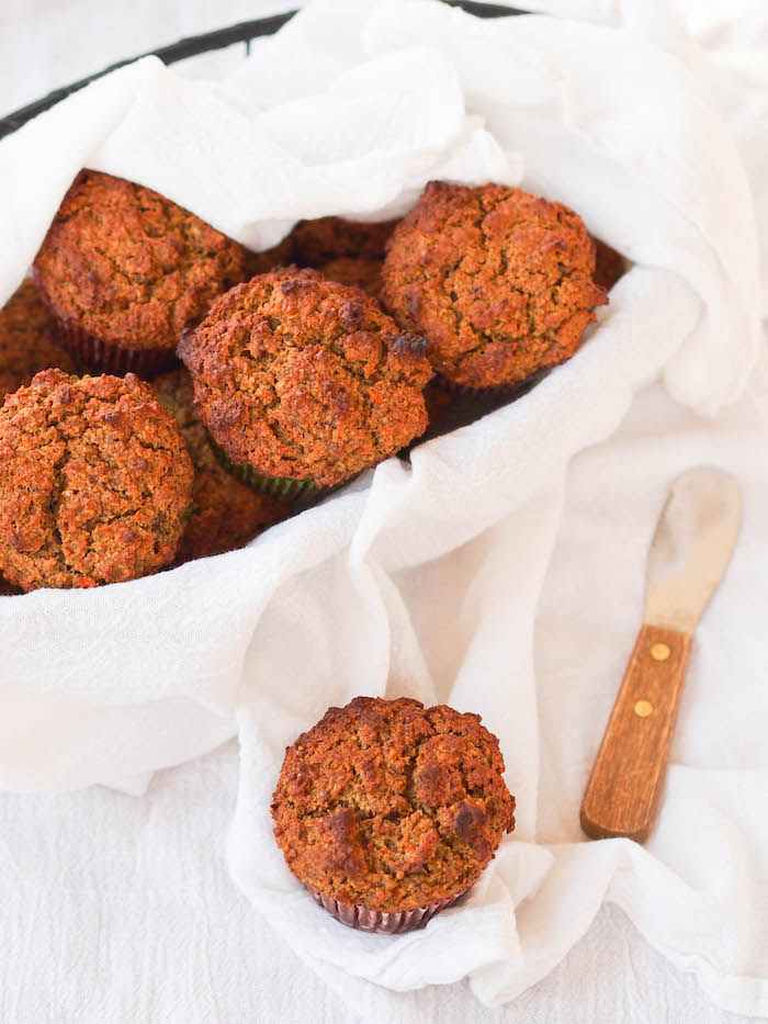 Whole grain and naturally sweetened carrot pecan muffins!