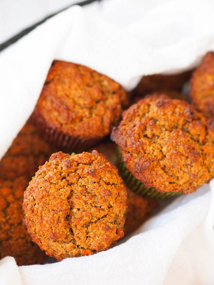 Gluten free carrot-pecan muffins are naturally sweetened with dates, carrots, and banana!