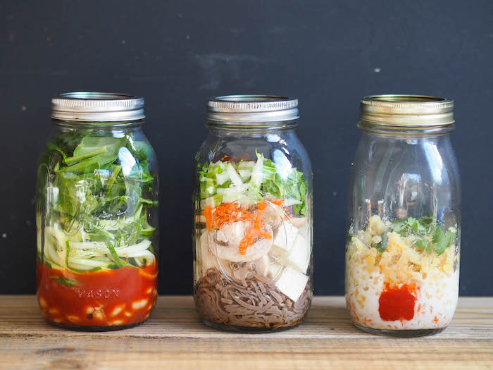 Easy Mason Jar Soups: Italian zoodle, Miso noodle and red curry lentil!