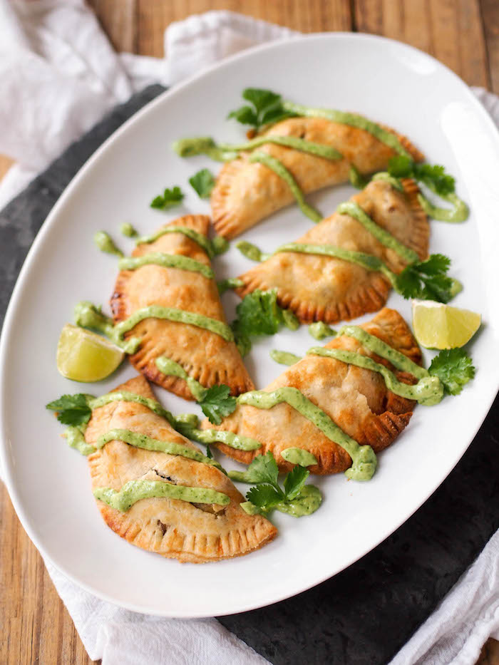 Whole Grain Potato Empanadas with Avocado Chimichurri Dipping Sauce