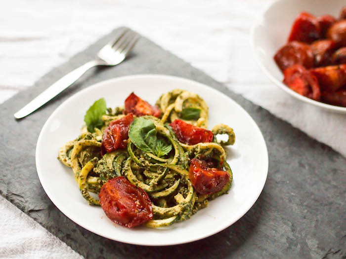 Zoodles with a creamy vegan pesto sauce made from cashews and roasted tomatoes