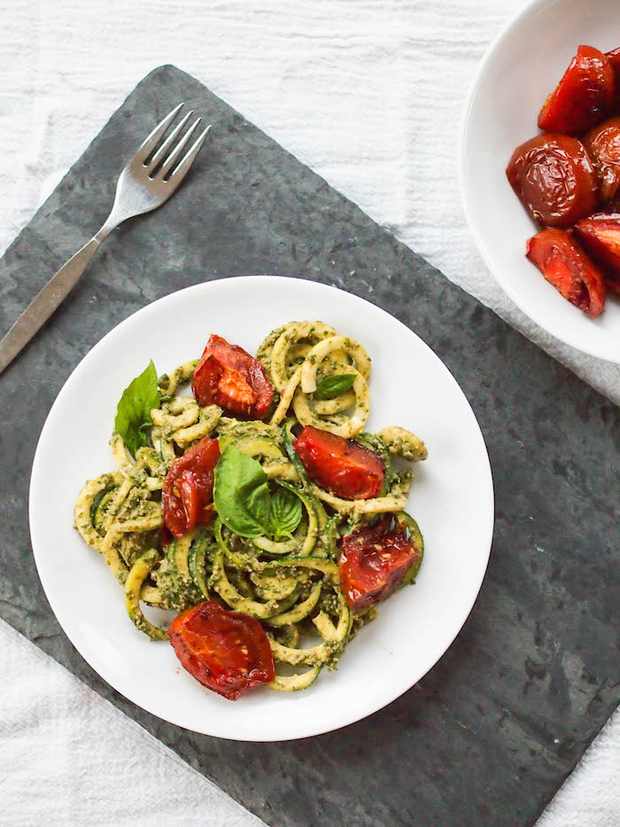 Creamy Gluten Free Pesto Zoodles with Roasted Tomatoes