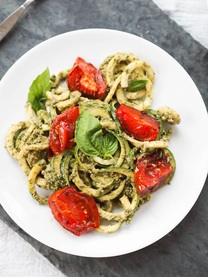 Vegan Sprialized Zucchini Noodles with Pesto and Roasted Tomatoes