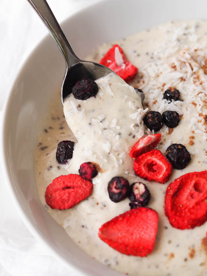 This vanilla chia smoothie bowl gets a boost of protein from Kura smoothie powder!
