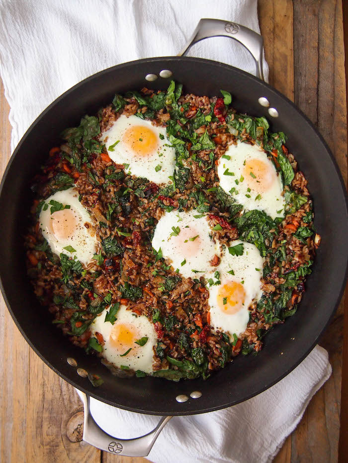 Eggs in a nest is made by baking eggs into easy veggie fried rice!