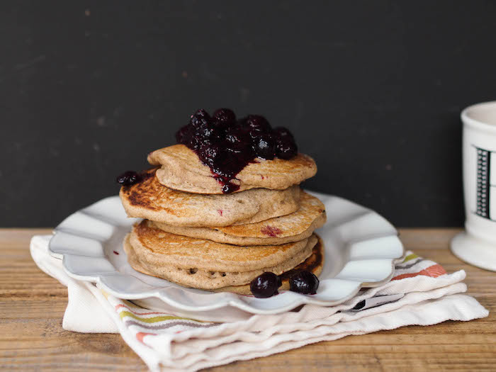 These classic multigrain buttermilk pancakes are packed with fiber for a filling breakfast!