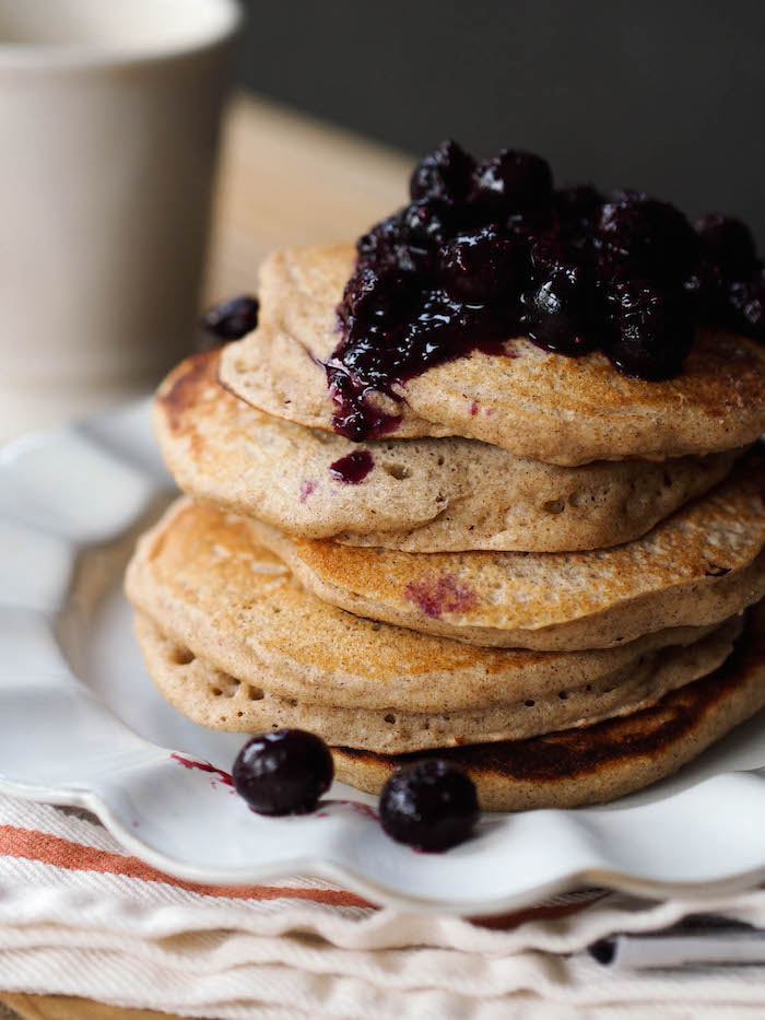 Classic multigrain buttermilk pancakes, served with a quick chia blueberry sauce