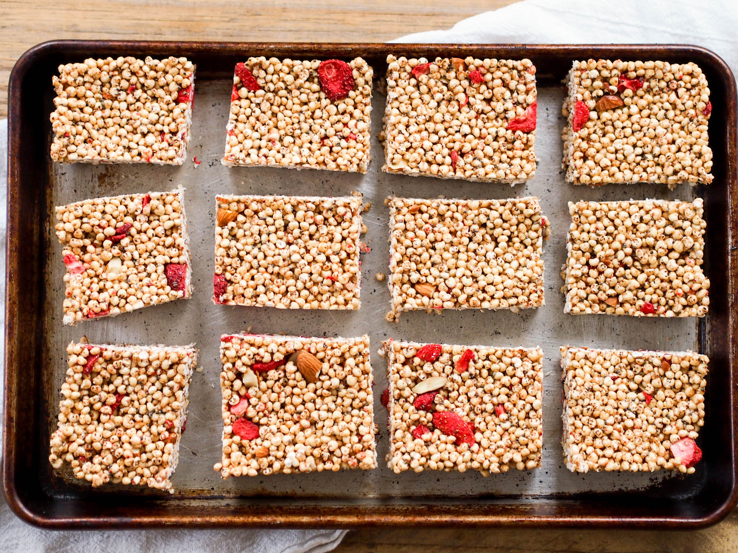 Snack on these marshmallow free crispy treats with almonds and freeze dried strawberries!