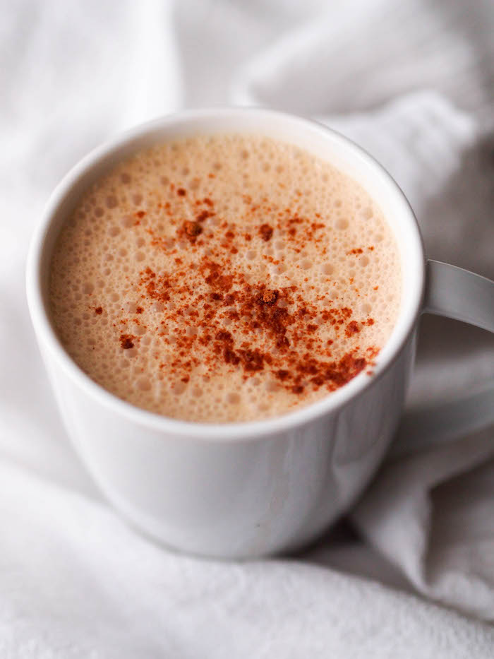 Frothy vegan coconut chai tea latte is packed with brain foods!