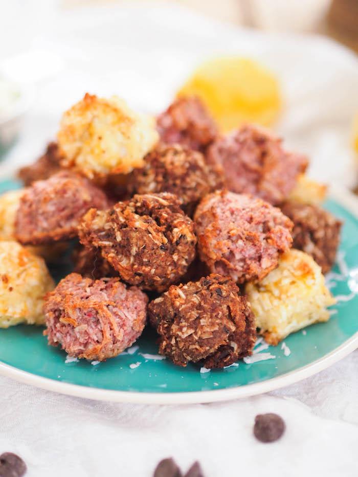 Gluten free and paleo macaroons made three ways - lemon, chocolate and strawberry