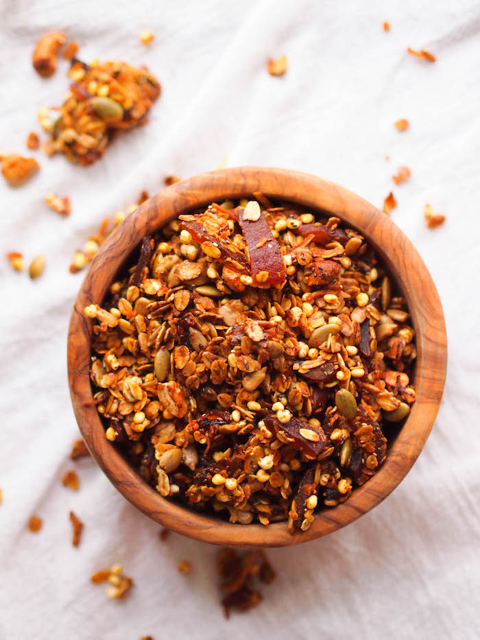 Savory Curry Coconut Granola with Chile Spiced Mango