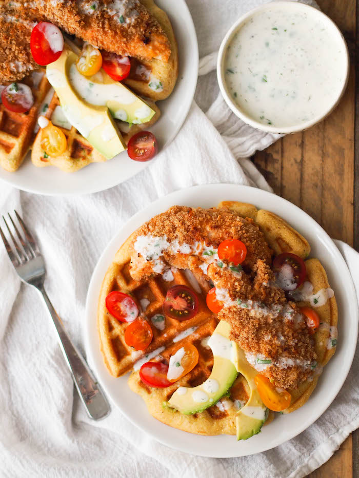 Healthy spicy chicken and cornbread waffles with ranch