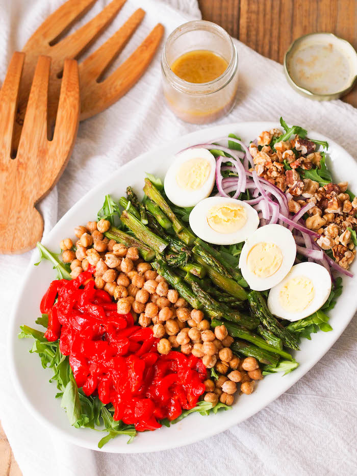 Mediterranean Cobb Salad with roasted asparagus, crispy chickpea croutons and roasted red peppers