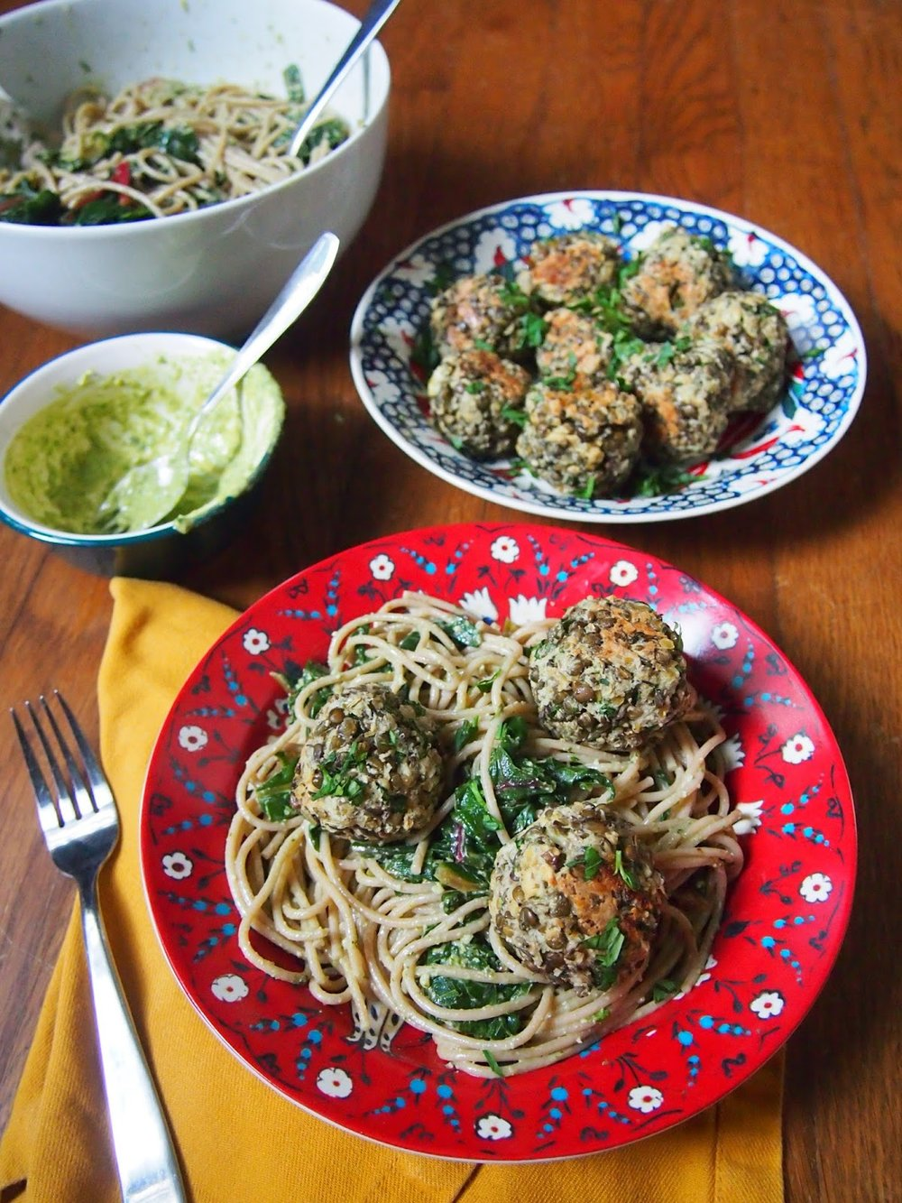 Lentil Meatballs with Lemony Pesto