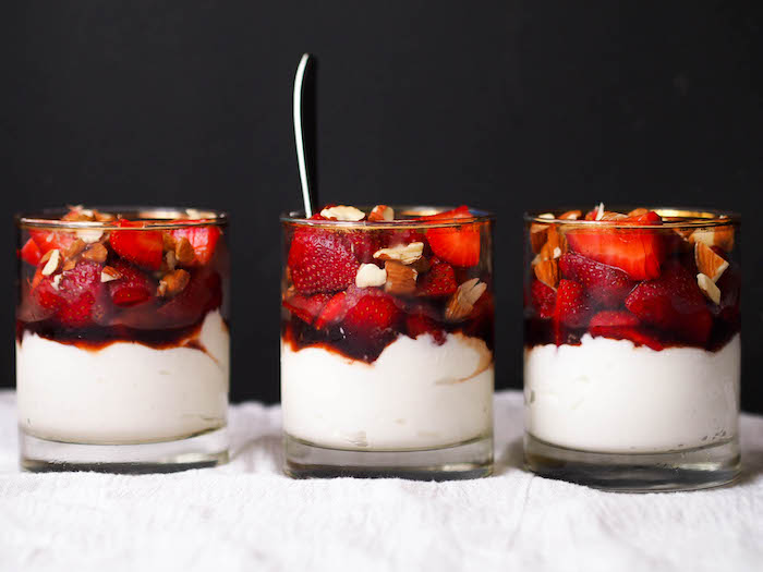 Yogurt Cups with Balsamic Macerated Strawberries and Toasted Almonds