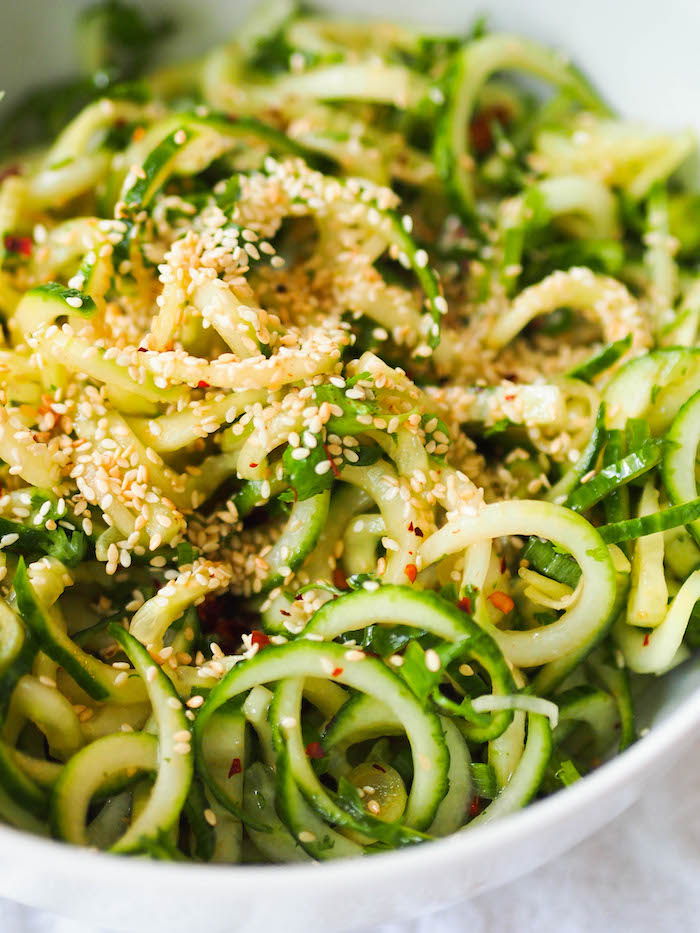 Cucumber noodle salad with a soy vinaigrette and sesame