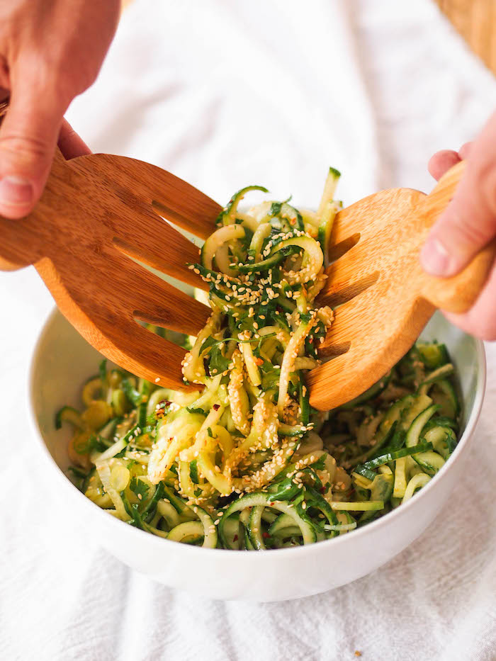 Spiralized Asian cucumber salad is a refreshing summer side dish!
