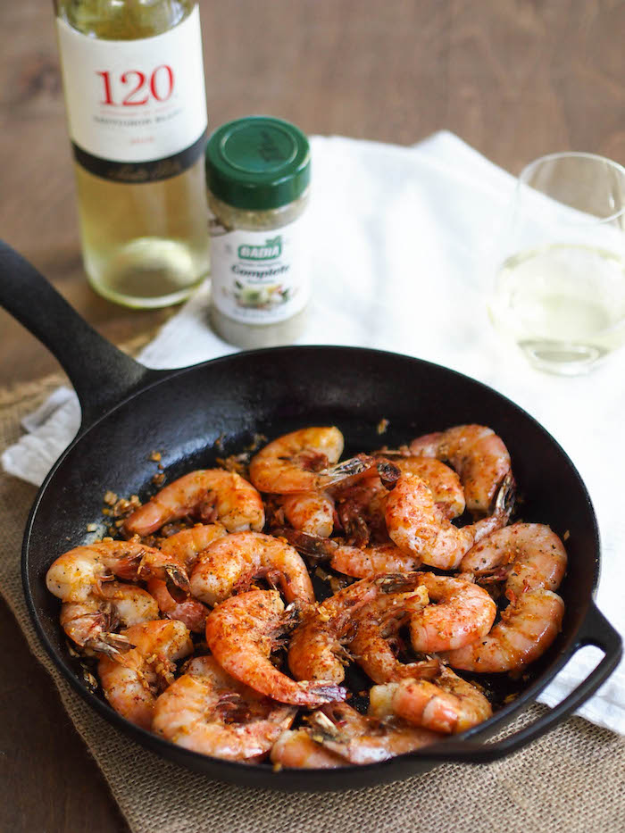 Grilled Shrimp in Pil Pil Sauce with Sauvignon Blanc