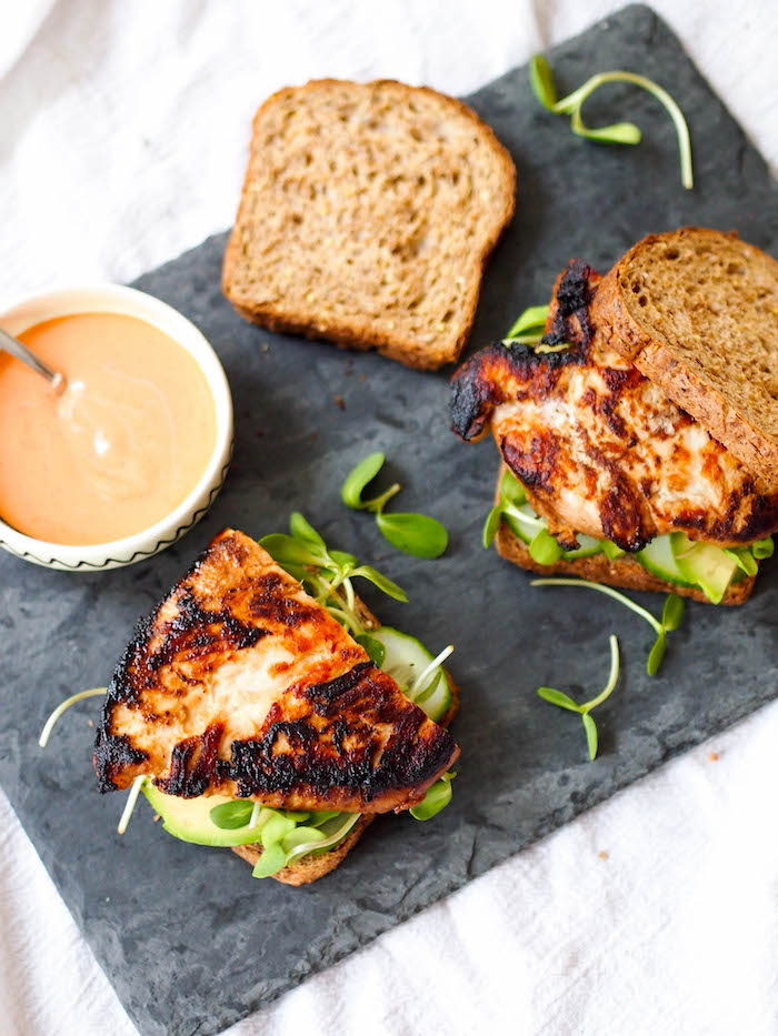 Miso grilled chicken sandwich with sriracha mayo and veggies
