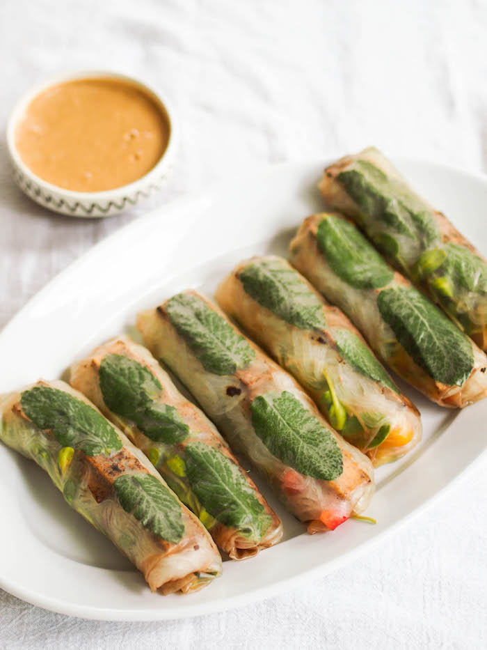 Vegan spring rolls filled with black garlic tofu, mango, rice vermicelli noodles and fresh vegetables, served with an easy homemade peanut dipping sauce