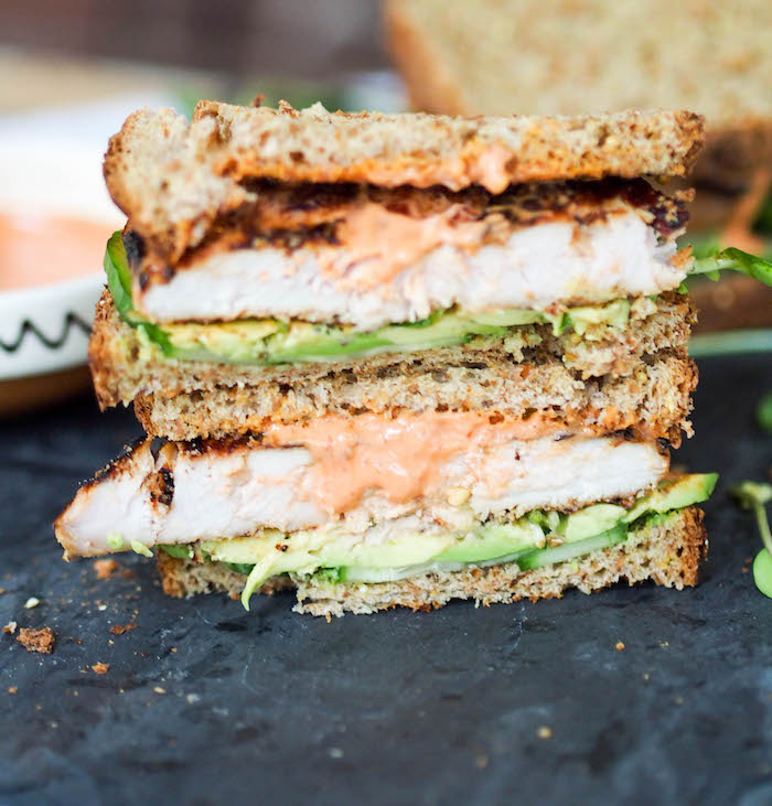 Miso grilled chicken sandwiches with sriracha mayo and avocado