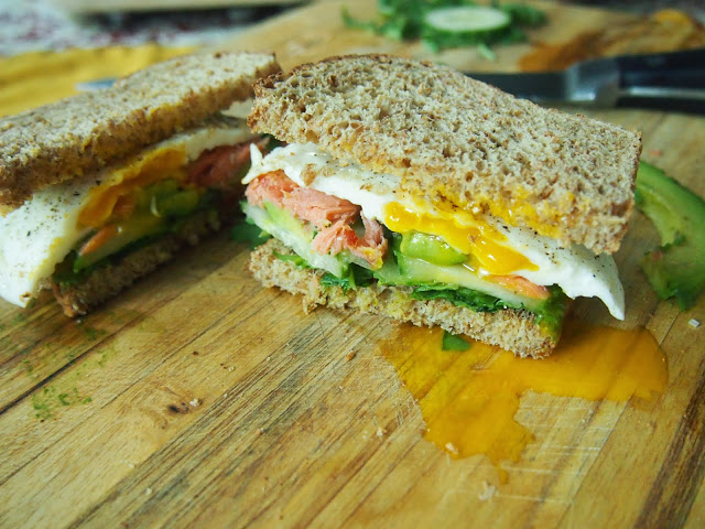 Smoked Salmon Breakfast Sandwich with Avocado, Fried Egg and Cucumber